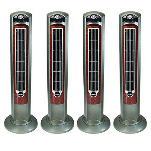 "Lasko WOODGRAIN 42"" Tower Fan with All NEW FRESH AIR IONIZER, Remote Control Included (4 pack)"