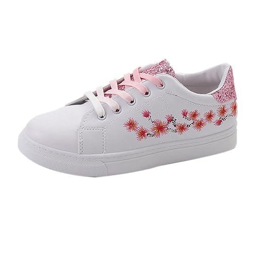Goodsatar Moda Correas Zapatillas Deportivas Running Bordado Zapatos de Flores para Mujeres (EU:37