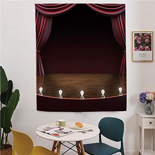 (Musical Theatre Home Decor Blackout Window Curtain,Free Punching Magic Stickers Curtain,Classical Old Fashioned Theater Musical Performing Arts,for Living Room,Study, Kitchen, Dormitory, Hotel,Maroon)