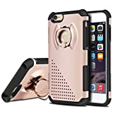 NAVOR® Dual Layer Shockproof 360 Degree Rotating Metal Ring Kickstand Case for iPhone 6 / 6s - rosé Gold (IP6-4-RG)