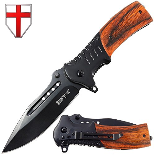 Grand Way Hunting Folding Knife Rosewood Handle - Tactical EDC Pocket Knife - Foldable Long Blade Pocket Knife - Big Blade Folding Knife WK 0207