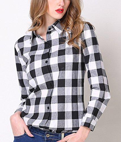 Tee Revers Treillis Automne Casual Fashion Femmes Chemises T Longues Les Noir Tous Shirts Hauts Shirts Blouse de et Chemisiers Slim Jours Printemps Manches Tops 4RFqXPw