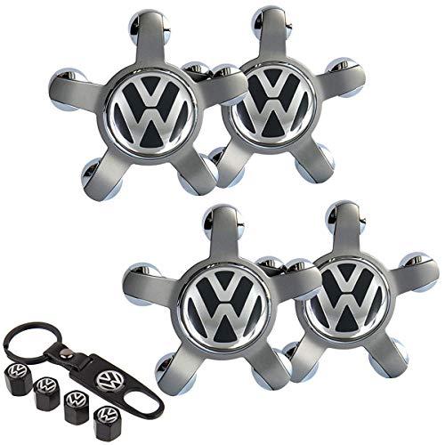 99 Carpro Set of 4 - Volkswagen Wheel Center Caps Emblem, 65mm VW Rim Hub Cover Logo, Car Wheel Center Hub Caps for Volkswagen + 4PCS Tire Air Valve Covers and 1 Key Chain Fit for VW Vehicle