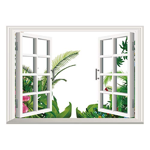 SCOCICI Wall Mural, Window Frame Mural/Plant,Hand Drawn Illustration of Tropical Plants with Assorted Colors Exotic Shrub,Green Multicolor/Wall Sticker ()