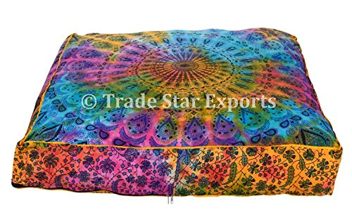 square-pet-bed-cover-indian-tie-dye-mandala-floor-pillow-cases-boho-dog-bed-covers-cotton-meditation