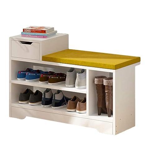 Amazon.com: HOQTUM - Banco de zapatos de madera con asiento ...
