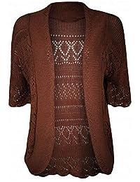R KON Women's Crochet Knitted Bolero Top Cardigan Shrug Sweaters