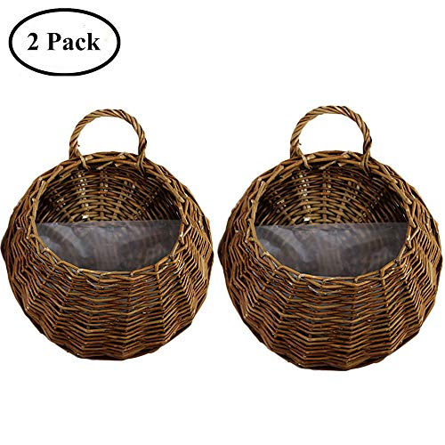 (Yunhigh Wicker Hanging Flower Basket Wall Mounted Rattan Plant Vine Wall Basket Door Home Wedding Restaurant Office Decoration,Set of 2)