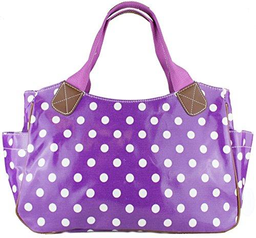 Miss Lulu - Bolso para mujer, de hule, con flores, búho, lunares o mariposas - Polka Dots Purple