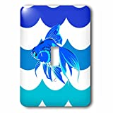 3dRose lsp_205124_1 Print of Blue Fish on Blue and Aqua Waves Single Toggle Switch