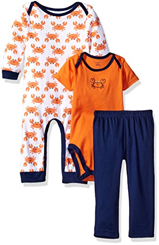 Gerber Baby Boys' 3-Piece Coverall, Bodysuit and Pant Set, Crab, 0-3 Months