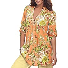 iLH® ZYooh Plus Size Blouse,Clearance!Autumn Vintage Floral Printed V-Neck Tunic Tops 3/4 Sleeve Loose Blouse for Women