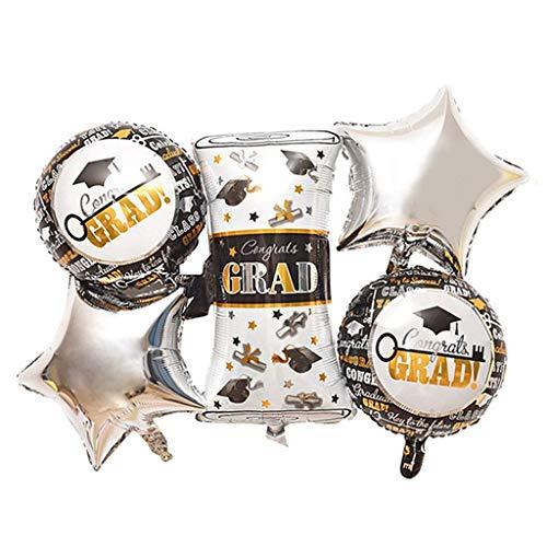 5pcs Graduation Party Balloons Congrats Grad Stars Foil Balloons Set Graduation Party - Congrats Balloon Party Grad Foil