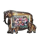 Animal Wildlife Tribal Elephant Family Faux Wood Picture Frame (3''x5'' Photo)