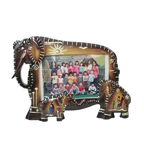 (Animal Wildlife Tribal Elephant Family Faux Wood Picture Frame (3