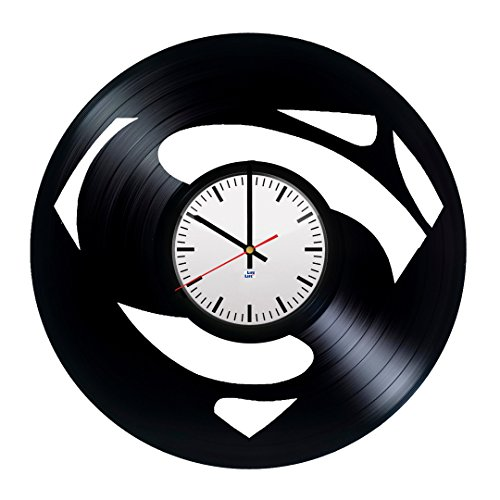 Modern Vinyl Record Wall Clock With Superman Logo Design - Unique Bedroom or Kitchen Wall Decor - Original Gift Idea For Men and Women - Exclusive Comics Superhero Fan Art - Christopher Reeve Superman Costume