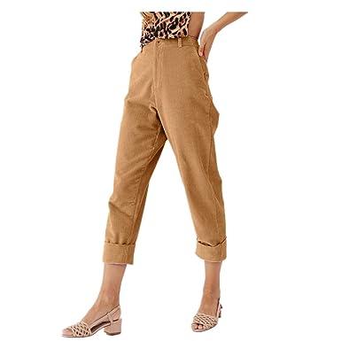 Pantalon Velours Côtelé Femme Mode Pantalons Poche Casual Confortable Pants  Hiver(Jaune c30df7a98ca