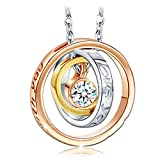 "Qianse ""I Love You Mom"" Engraved Script Rose Gold Rings Pendant Necklace with Austrian Crystal*Best Mother's Day Gift*Women Fashion Jewelry, Love Confession"