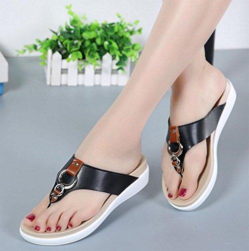 zapatillas de fondo grueso correa de las mujeres zapatos de las sandalias salvajes Black
