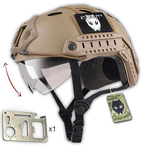 (ATAIRSOFT PJ Type Tactical Multifunctional Fast Helmet with Visor Goggles Version DE + 1 x Multifunction)