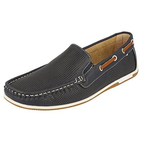 los con Blan0C9AWl4DQR Clásicos Remaches Cordones Calado Piso metálicos Zapato Laterales Marino con Náutico wq1C4
