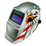 Solar Power Auto Darkening Welding Helmet with Wide Shade Range Din 9-13 with Grinding Feature Extra Lens Covers Good for Arc Tig Mig Plasma Ce En175 En379, Ansi Z87.1-2010 Certified (EH-745 Eagle)