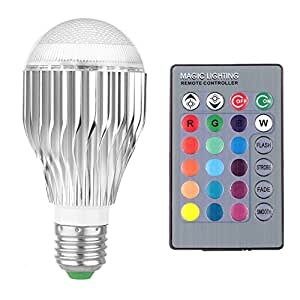 Etrech E27 10W 16 Color Changing Dimmable RGB LED Light Bulbs, Remote Control With Memory Function 85-265V