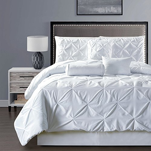 7 pieces double needle stitching pinch pleat solid white comforter set queen size bedding home. Black Bedroom Furniture Sets. Home Design Ideas