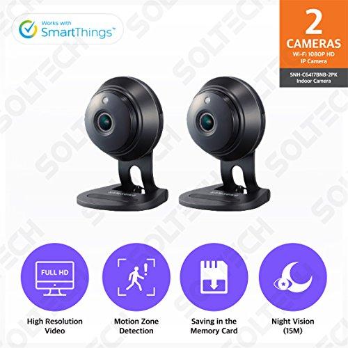 Samsung Wisenet SNH-C6417BNB SmartCam HD Plus 1080p Full HD Wi-Fi Camera Black 2 Pack