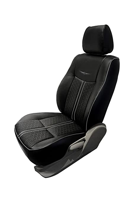 Magnificent Nappa Magnum Black And Silver Art Leather Car Seat Cover For Creativecarmelina Interior Chair Design Creativecarmelinacom