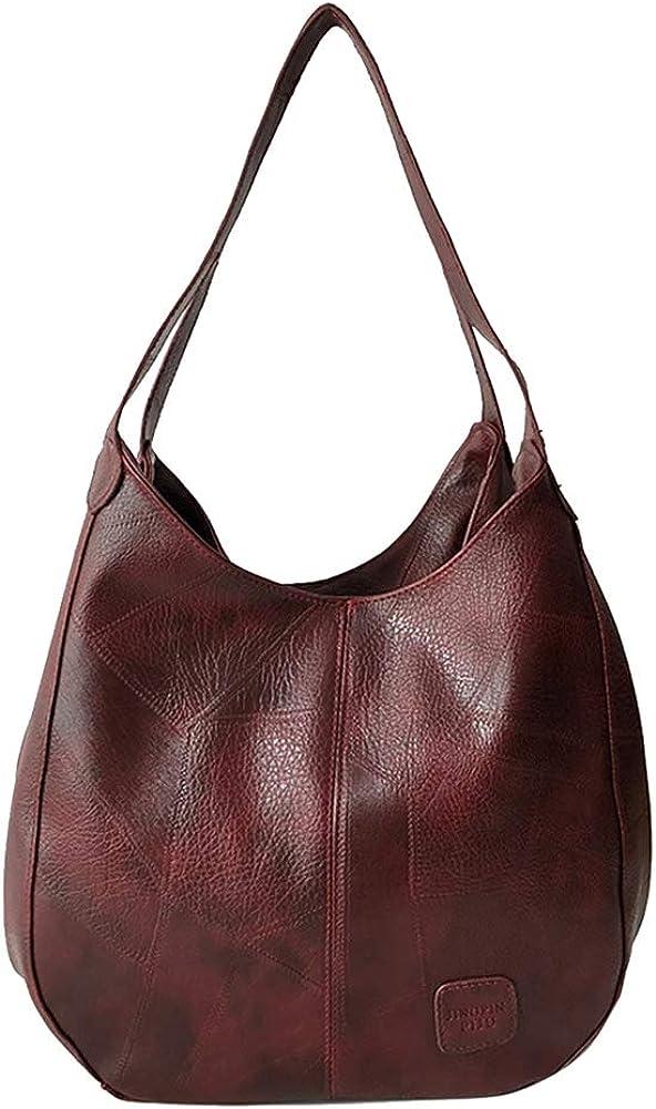 Tennessee526 Purses and Handbags Shoulder Tote Bags Vintage Faux Leather Handbag Women Large Capacity Tote Shoulder Bag