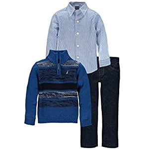 Nautica Boys' Three Piece Set with Zip Sweater, Woven Shirt, and Denim Pant