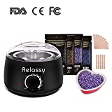 Relassy Wax Warmer/Hair Removal Waxing Kit/Wax Heater with Hard Wax Beans/Heart-Shaped Bowl/Wax Applicator DIY Waxing Kit for Women or Men(Black)