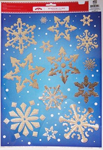 (Christmas Reusable Window Clings - Shining Silver Snowflakes - 11.75'' x 17'')