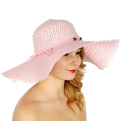fashion2100 Fancy floppy straw sun hat w/ beaded band Pink