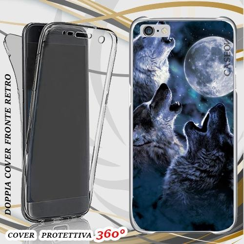 CUSTODIA COVER CASE THREE WOLF MOON PER IPHONE 6 PLUS FRONT BACK