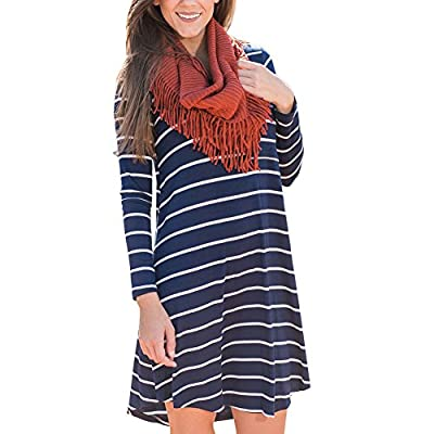 GINVELL Women's Back to School Long Sleeve Striped Casual Loose T-Shirt Dress