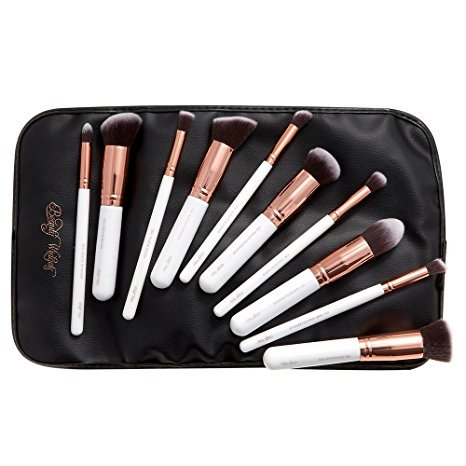 Beauty-Widgets-10-Kabuki-Soft-Synthetic-Bristles-Makeup-Brushes-with-Roll-Tie-Bag-Rose-Gold-with-White-Handles