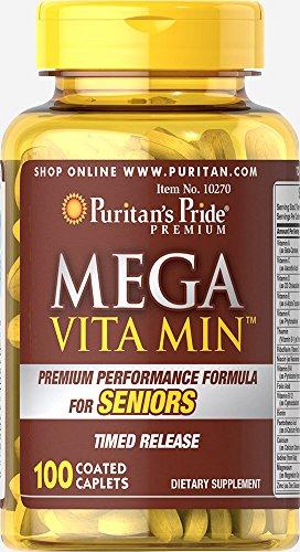 (Puritan's Pride Mega Vita Min Multivitamin for Seniors Timed Release-100 Coated Caplets)