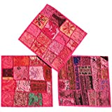 "Designer Throw Pillow Sham Vintage Patchwork Pink Cushion Covers Set Of 3 16""x 16"""