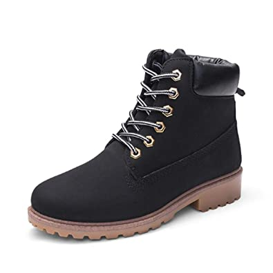 c47ae85d90a0 Image Unavailable. Image not available for. Color  Creazrise Women s Lace  up Low Heel Work Combat Boots Waterproof Ankle Bootie ...