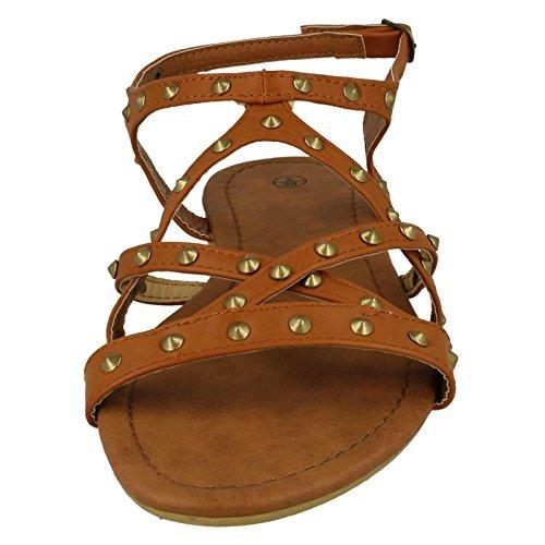 Ankle On Fibbia Strap Flat X Sandali beige Studded Tan Con Ladies Spot YawqAF