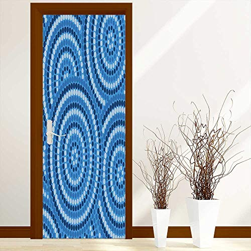 L-QN Door Sticker Decor Abstract Aboriginal Ethnic Indigenous Australian Mosaic Style Dots Artprint Durable Materia W23.6 x H78.7 inch