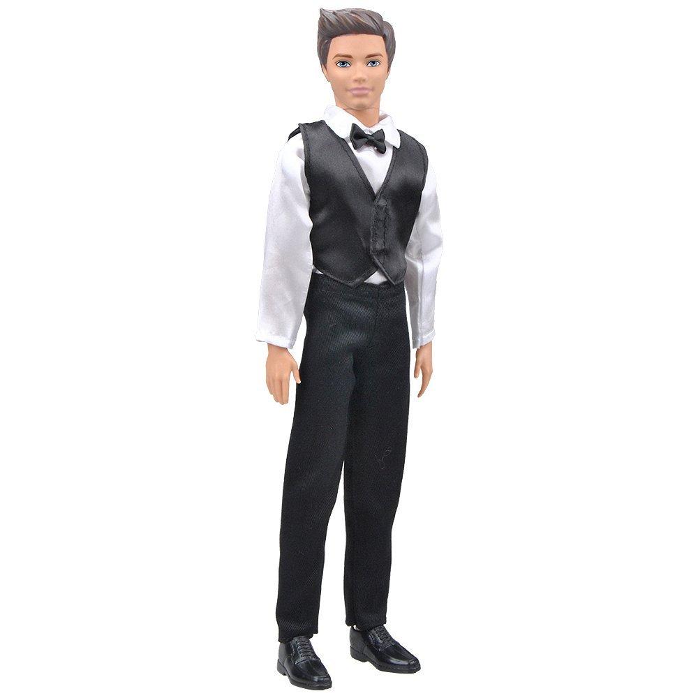 E-TING 1Set=3pcs Novio Esmoquin Formal de Boda Trajes de Caballero Ropa de Chaleco para muñeca Masculina (Chaleco Negro + Camisa Blanca + pantalón ...