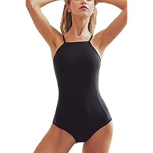 Ekouaer Womens Bathing Suit Halter High Neck Backless One ...