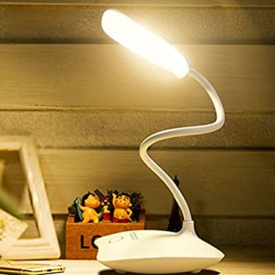 JasGood Eye Protection Touch Sensitive Switch 3 Brightness Levels LED Desk Lamp With USB Charging, Flexible Dimmable Portable Lightweight Home Office Desk Table Book Reading Study Bedside Lamp Light