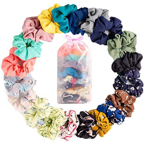JiaDuo 20 Pack Hair Scrunchies Chiffon Elastic Hair Bands Scrunchy Ties Ropes Scrunchie for Women Girls Hair Accessories (Chiffon, 20pcs) ()