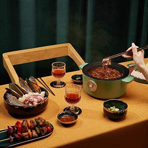 Elektro-Multi-Herd 2 L Slow Cooker mit 3 Heizstufen und Warmhaltefunktion Kleine Bratpfanne Hot Pot Suppentopf, rot mit Gedämpfte Grid