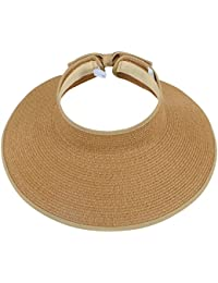 Women's Summer Foldable Straw Sun Visor w/ Cute Bowtie