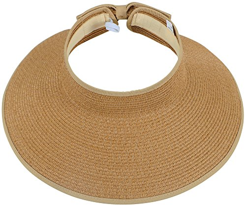 Simplicity Women's Roll Up Wide Brim Straw Hat Sun Visor Ribbed_Natural